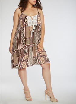 Plus Size Printed Tank Dress with Crochet Detail - 0390068700091