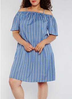 Plus Size Striped Off the Shoulder Shift Dress - 0390068700129