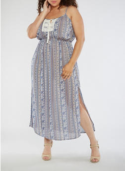 Plus Size Printed Maxi Dress with Crochet Detail - 0390068700194