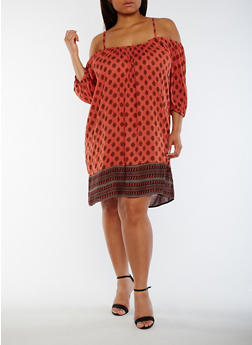 Plus Size Off the Shoulder Border Print Peasant Dress - 0390068700209