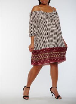 Plus Size Off the Shoulder Border Print Dress - 0390068700299