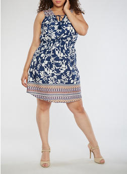 Plus Size Sleeveless Printed Dress with Tassels - 0390068700320