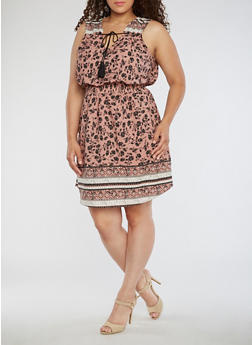 Plus Size Sleeveless Printed Dress with Elastic Waist - 0390068700321