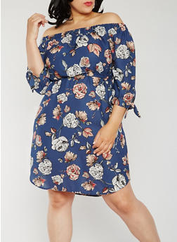 Plus Size Floral Off the Shoulder Peasant Dress - 0390068700519