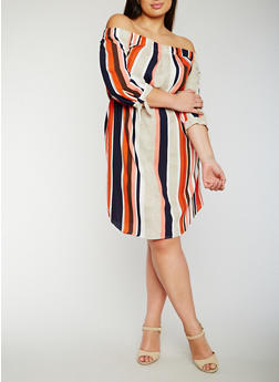 Plus Size Off the Shoulder Striped Peasant Dress - 0390068700575