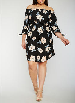 Plus Size Off the Shoulder Floral Peasant Dress - 0390068700655