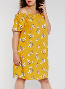 Plus Size Floral Off the Shoulder Shift Dress - 0390068700732