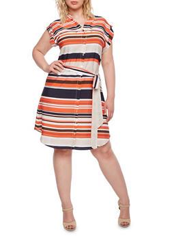 Plus Size Striped Shirt Dress with Belt - 0390068708587