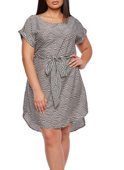 Plus Size Printed Dress with Belt and High-Low Hem - 0390068708638