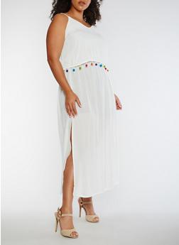 Plus Size Gauzy Maxi Dress with Pom Pom Trim - IVORY - 0390068709093