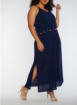 Plus Size Gauzy Maxi Dress with Pom Pom Trim - NAVY - 0390068709093