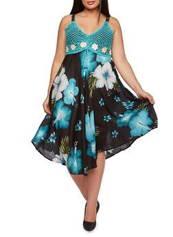 Plus Size Floral Dress with Crochet Bodice - 0390070650181