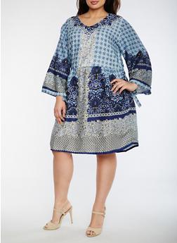 Plus Size Printed Gauze Knit Dress - 0390070652602