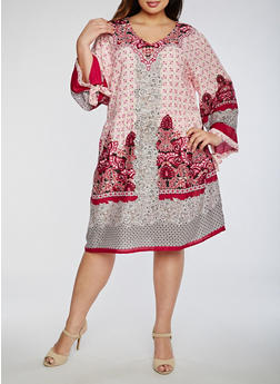 Plus Size Printed Gauze Knit Dress - 0390070652602