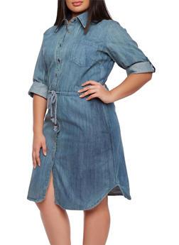 Plus Size Denim Shirt Dress with Drawstring Waist - 0390070655507