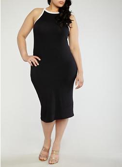 Plus Size Contrast Trim Tank Dress - 0390073374612