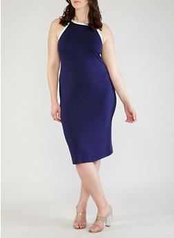 Plus Size Contrast Trim Tank Dress - NAVY - 0390073374612