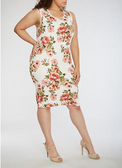 Plus Size Floral Bodycon Sleeveless Dress - 0390074013969