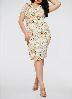 Plus Size Printed Faux Wrap Dress - 0390074280518