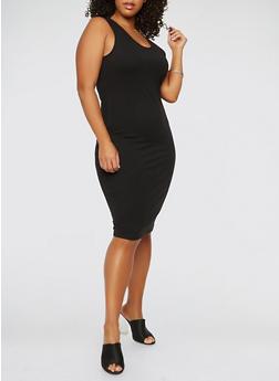 Plus Size Tank Dress - BLACK - 0390074281510