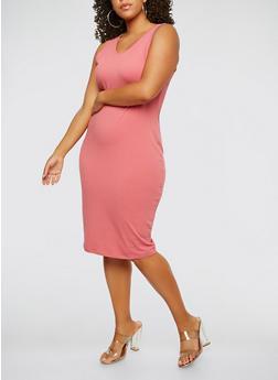 Plus Size Tank Dress - MAUVE - 0390074281510