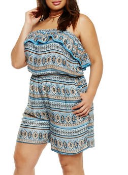 Plus Size Strapless Ruffle Printed Romper - 0392038345355