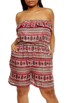 Plus Size Strapless Ruffle Printed Romper - PINK - 0392038345355