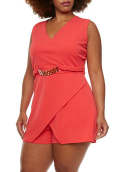 Plus Size Textural Romper with Fixed Wrap Paneling and Chain Embellishment - 0392038346977