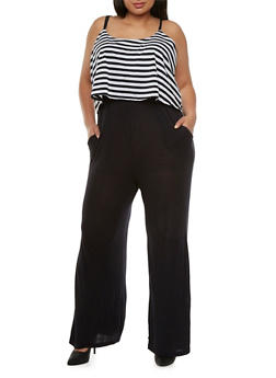 Plus Size Jumpsuit with Striped Overlay - 0392038346983