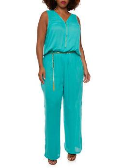 Plus Size Textural Jumpsuit with Removable Belt - 0392038347318