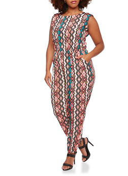 Plus Size Dashiki Print Jumpsuit - 0392038347321
