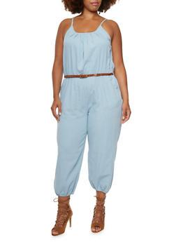 Plus Size Denim Jumpsuit with Belt - 0392038347340