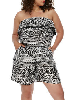 Plus Size Strapless Printed Romper with Crochet Trim - 0392038347355