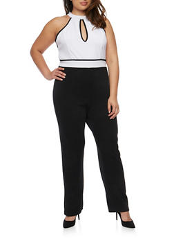 Plus Size Sleeveless Choker Keyhole Jumpsuit with Open Back - BLACK - 0392038347867