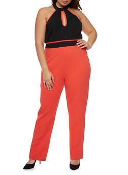 Plus Size Sleeveless Choker Keyhole Jumpsuit with Open Back - CORAL - 0392038347867