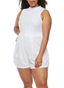 Plus Size Mock Neck Lace Romper - WHITE - 0392038347891