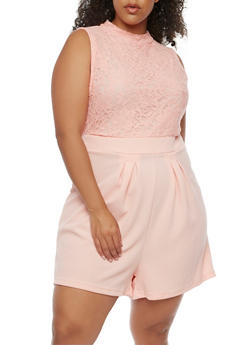 Plus Size Mock Neck Lace Romper - 0392038347891