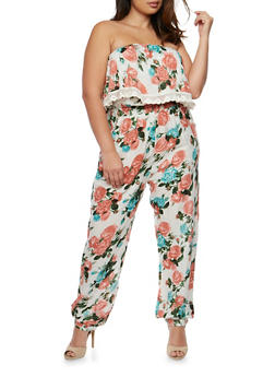 Plus Size Strapless Floral Print Jumpsuit with Overlay - IVORY - 0392038348301