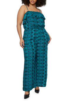 Plus Size Sleeveless Printed Jumpsuit with Ruffle Overlay - 0392038348308