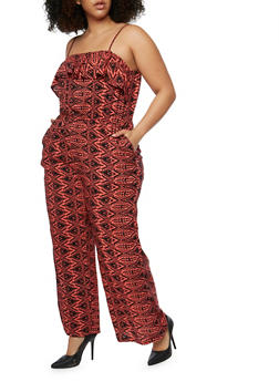 Plus Size Sleeveless Printed Jumpsuit with Ruffle Overlay - CORAL - 0392038348308