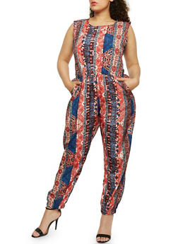 Plus Size Printed Jumpsuit with Caged Back - 0392038348310