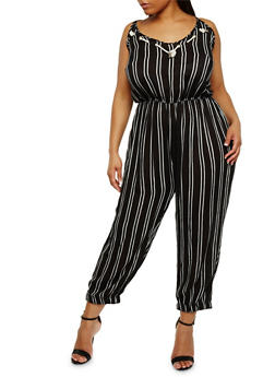 Plus Size Striped Sleeveless Jumpsuit - 0392038348327