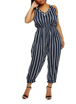 Plus Size Striped Sleeveless Jumpsuit - 0392038348327