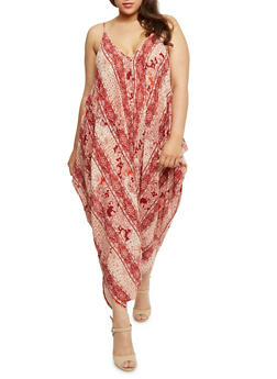 Plus Size Printed Parachute Jumpsuit - RUST - 0392038348329