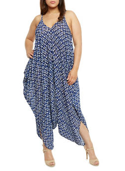 Plus Size Printed Parachute Jumpsuit - BLUE - 0392038348329