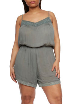 Plus Size Sleeveless Romper with Crochet Trim - SAGE - 0392038348330