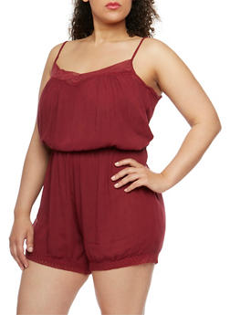 Plus Size Sleeveless Romper with Crochet Trim - BURGUNDY - 0392038348330