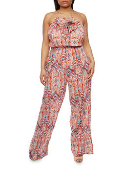 Plus Size Printed Jumpsuit with Ruffle - 0392038348335