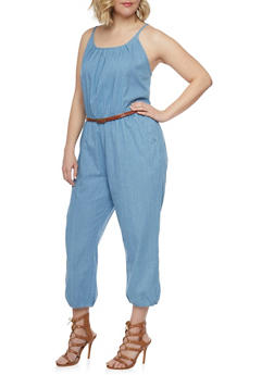 Plus Size Sleeveless Belted Denim Jumpsuit - LIGHT WASH - 0392038348340