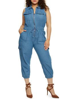 Plus Size Zip Front Cargo Denim Jumpsuit - 0392038348343